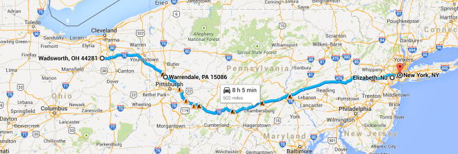 Ideal path. Wadsworth, OH -> Warrendale, PA -> Elizabeth, NJ, - NYCizzle.